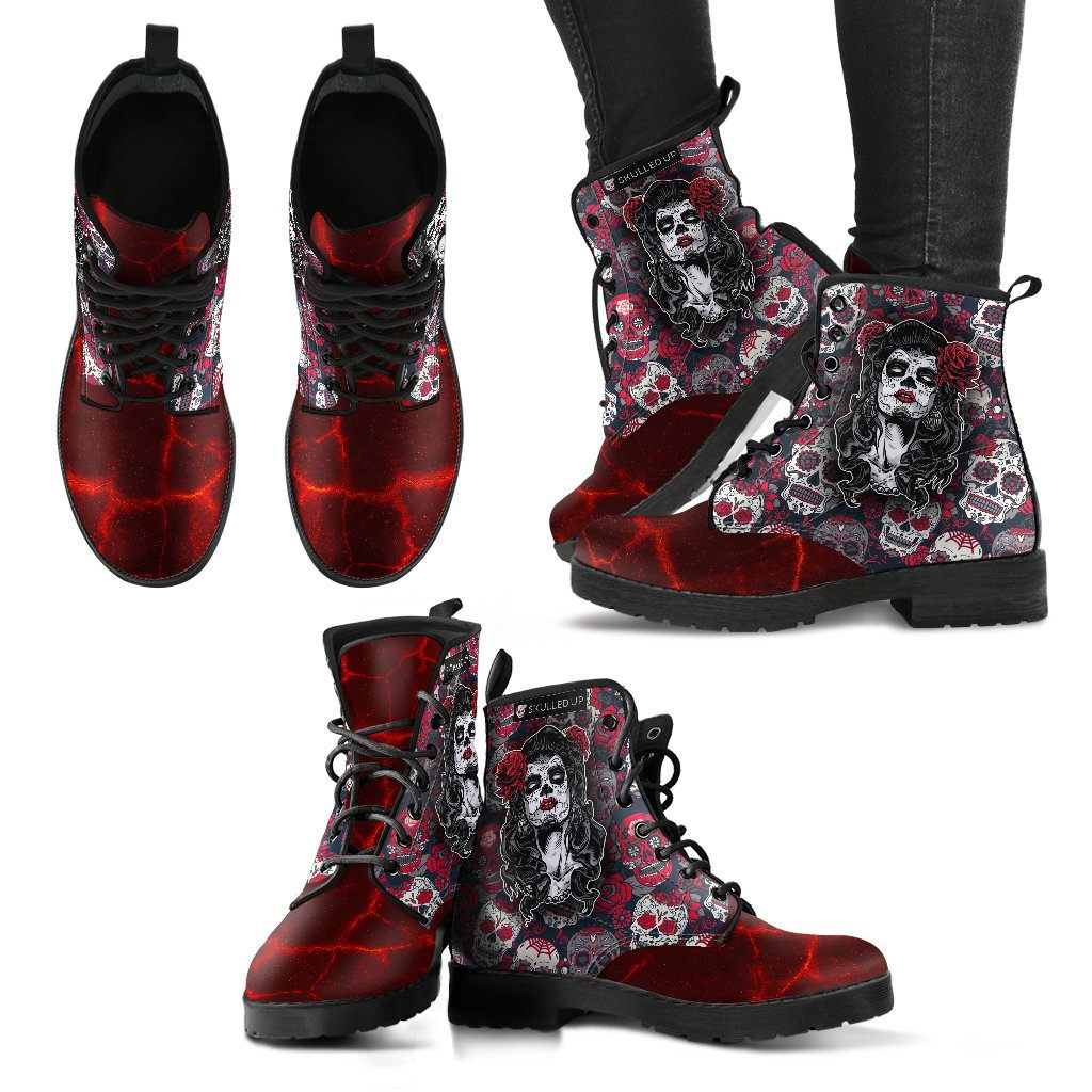 Day Of The Dead - Sugar Skull Women's Leather Boots - Rebels Depot