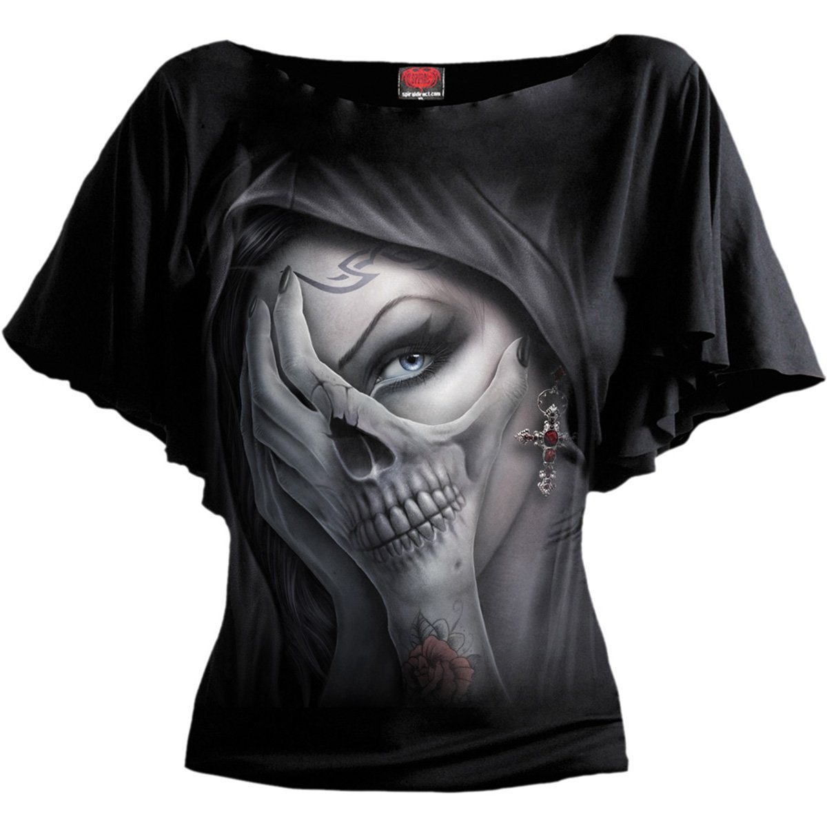 Gothic Enchantress Women's Bat Sleeve Black Top - Rebels Depot