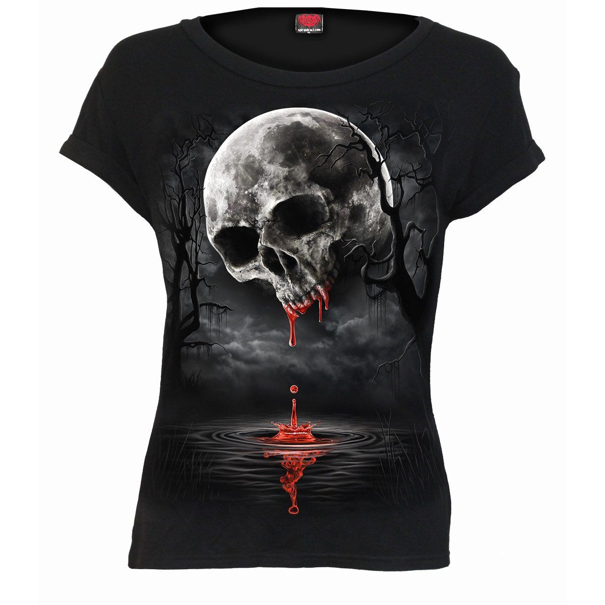 Deathly Moon Skull Women's Black Short Sleeve - Rebels Depot
