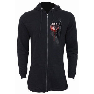 Deathly Moon Skull Zip Black Hoodie - Rebels Depot