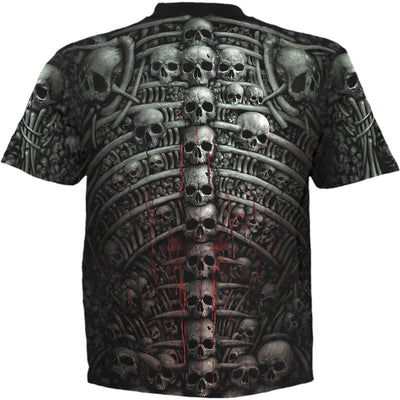 Gothic Death Ribs Men's All Over Black T-Shirt - Rebels Depot