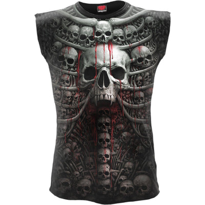 Gothic Death Ribs Men's Black Sleeveless Shirt - Rebels Depot