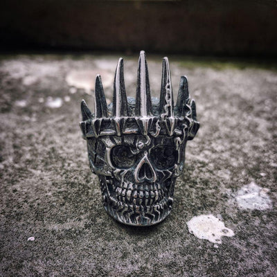 Death's Crown Stainless Steel Skull Ring - Rebels Depot