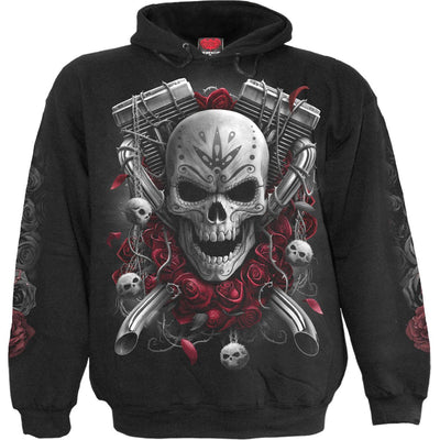 Day Of The Dead Biker Black Hoodie - Rebels Depot