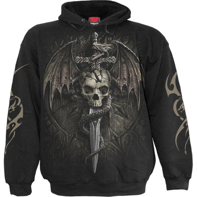 Mournful Dragon Skulls Black Hoodie - Rebels Depot