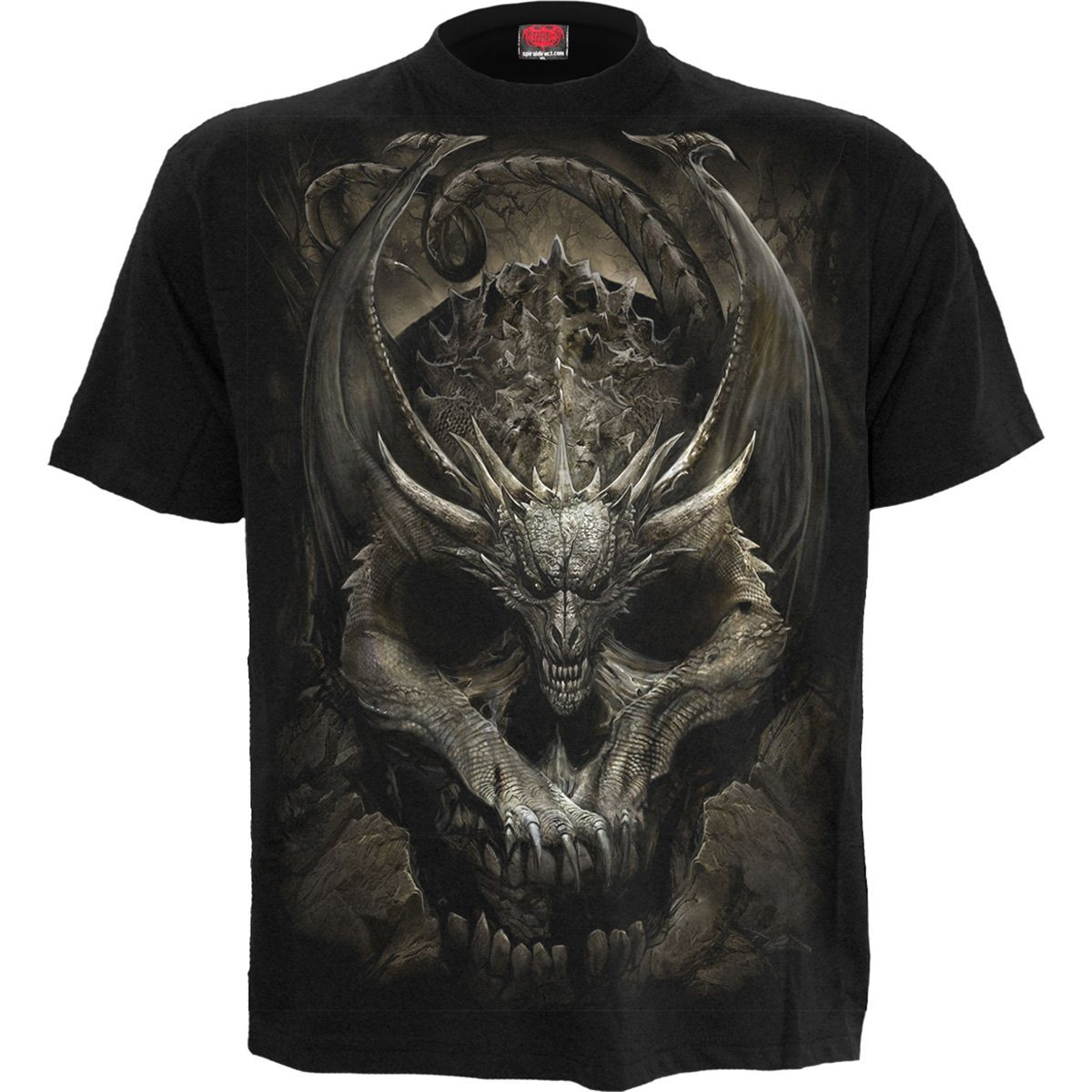 DRACO SKULL Vengeful Dragon Black T-Shirt