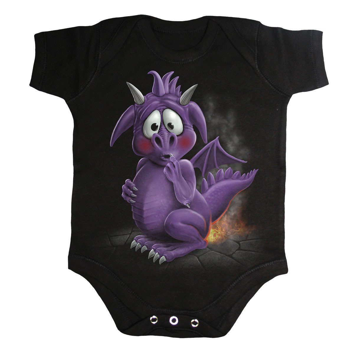 Wind & Fire Baby Dragon Black Onesie