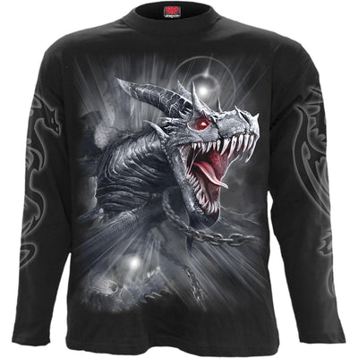 Piercing Dragon's Cry Men's Black Longsleeve Shirt - Rebels Depot