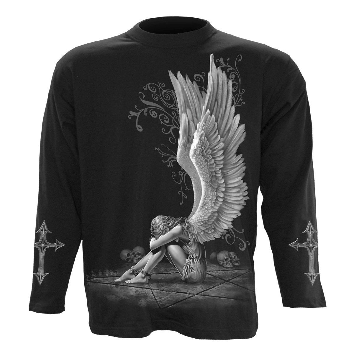 Angel Of Sorrow Men's Black Longsleeve Shirt - Rebels Depot