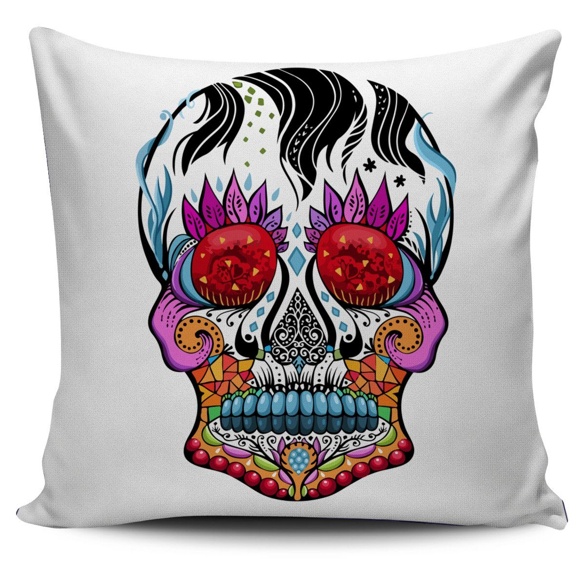 Colorful Sugar Skull Pillow Cover