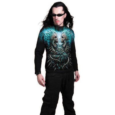 Skull & Blue Flames Men's Black Longsleeve Shirt - Rebels Depot