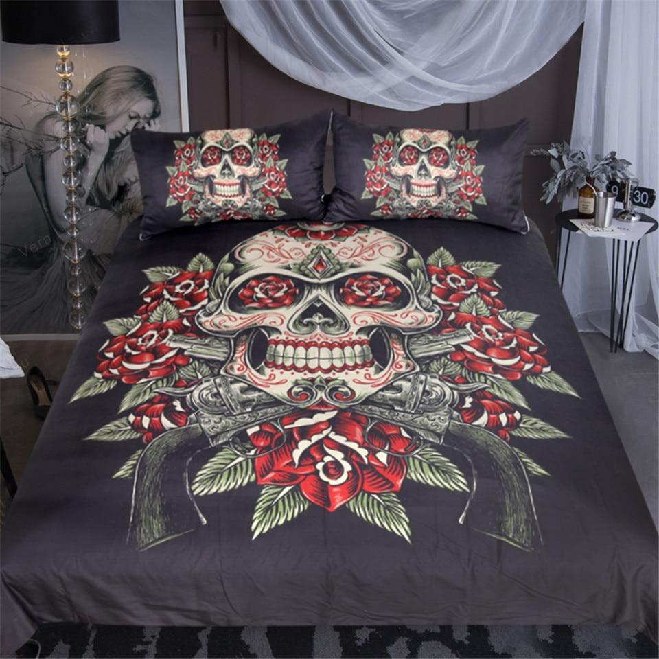 Sugar Skull and Roses Bedding Set - Rebels Depot