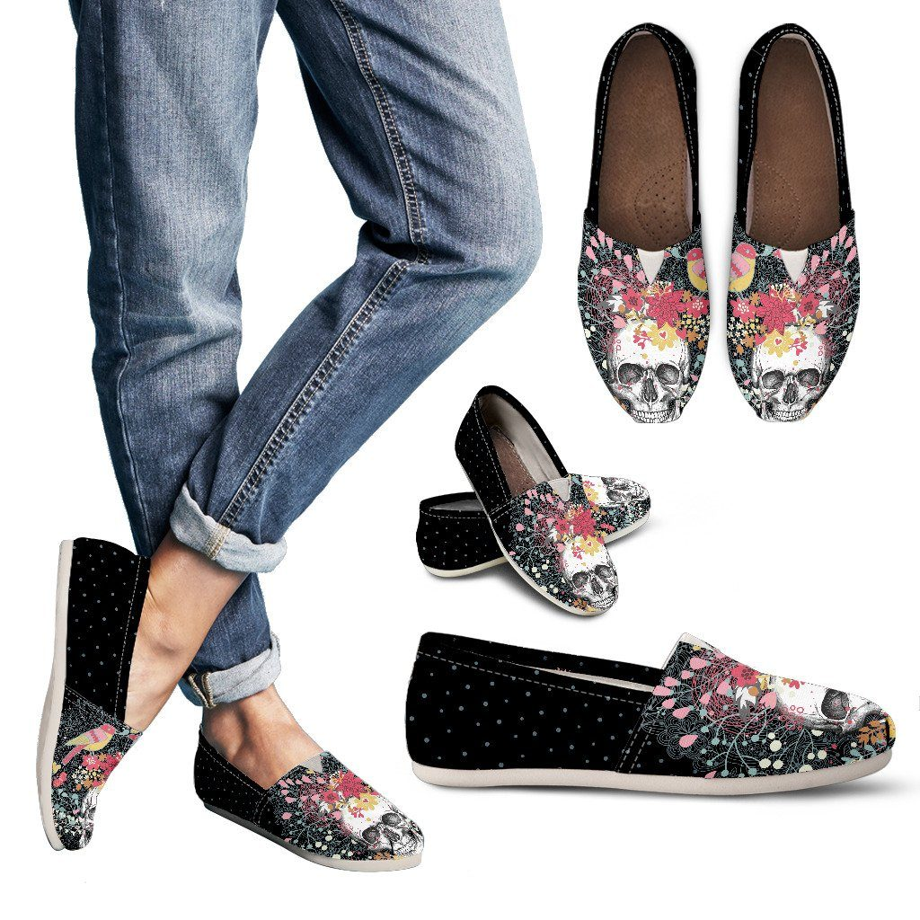 Floral Skull Women's Casual Canvas Shoes - Rebels Depot
