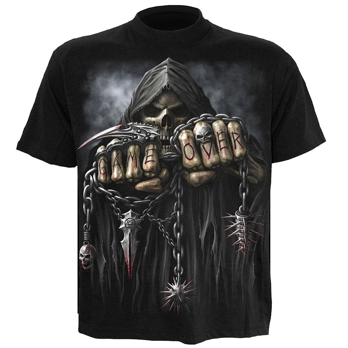 Game Over Grim Reaper Kid's Black T-Shirt