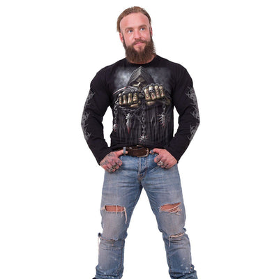 Game Over Death Skull Men's Black Longsleeve Shirt - Rebels Depot
