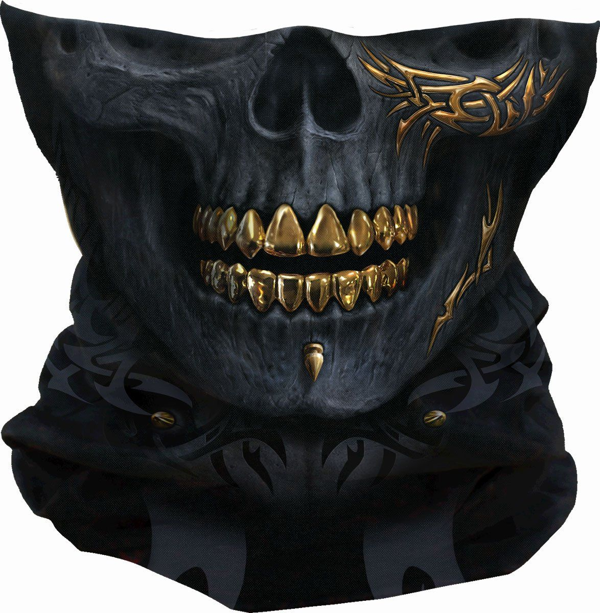 Gold Teeth Tribal Skull Balaclava