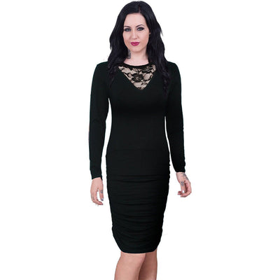 Alluring Darkness Gathered Midi Black Dress - Rebels Depot