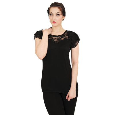 GOTHIC ELEGANCE - Lace Layered Cap Sleeve Top Black - Rebels Depot