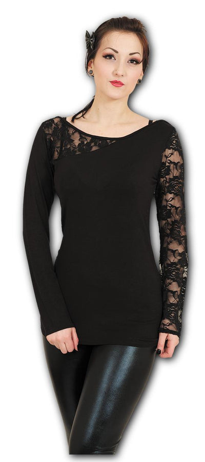 Gothic Elegance Women's Black Lace Longsleeve Top - Rebels Depot