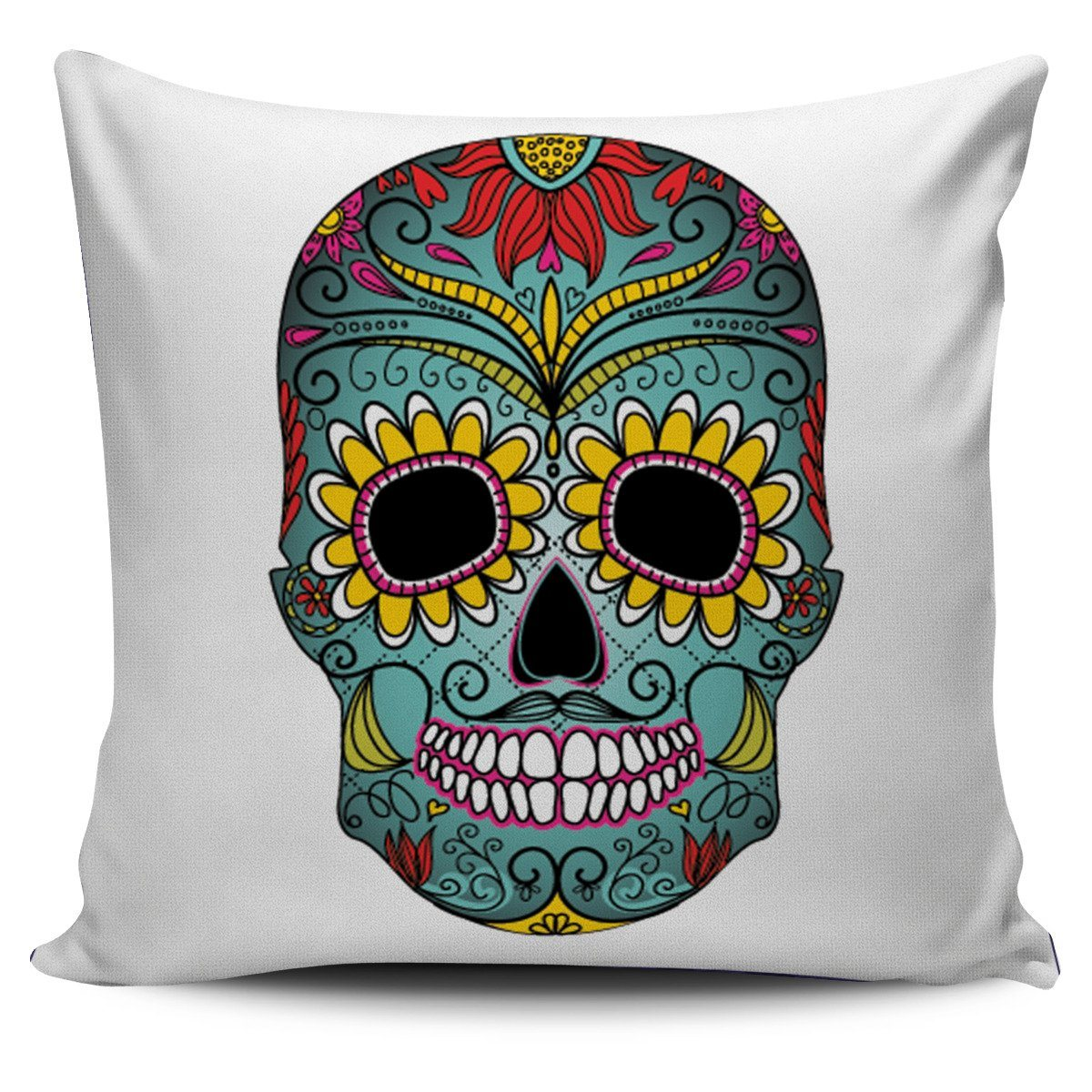 Green Sugar Skull Pillow Cover