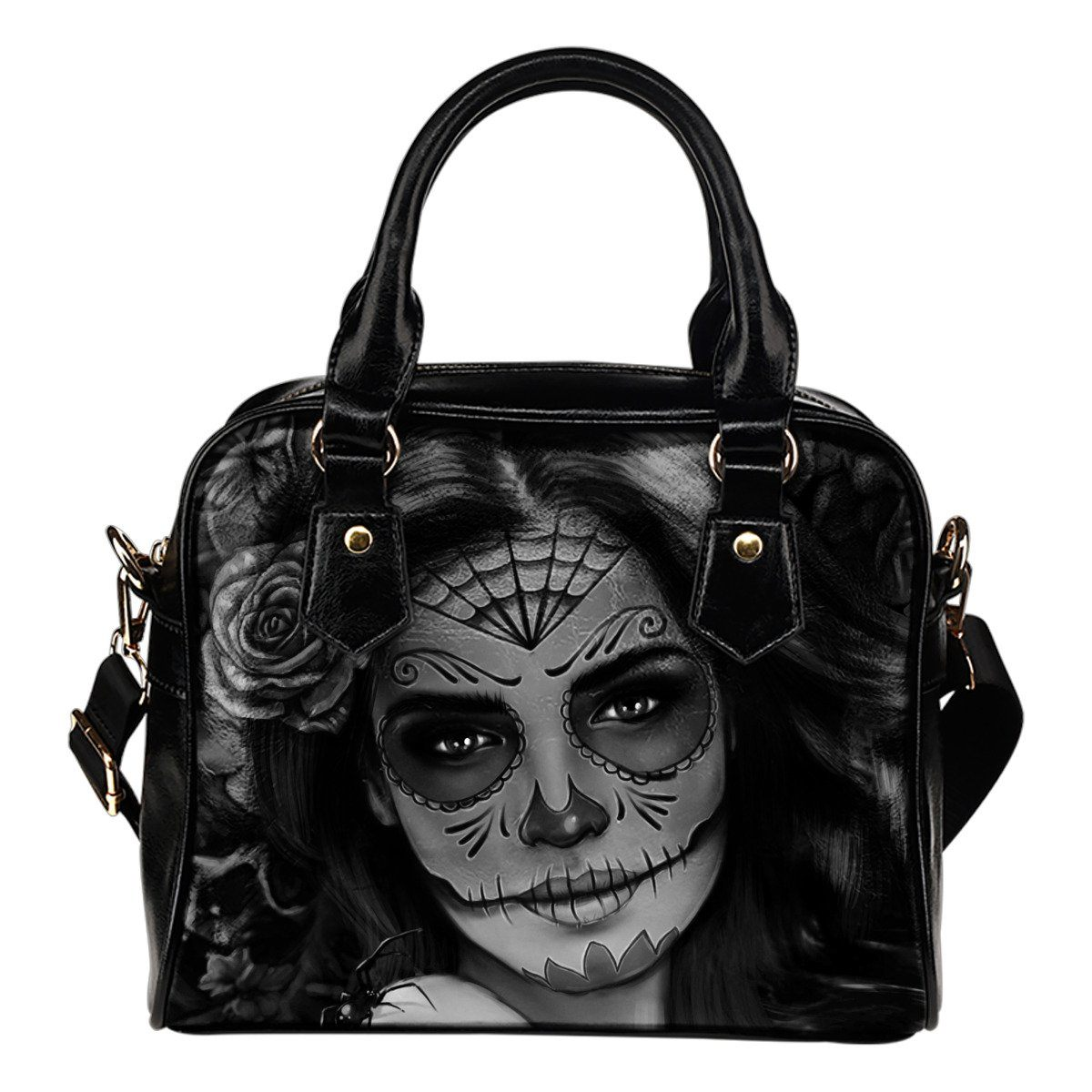 Day of The Dead Gray Leather Handbag