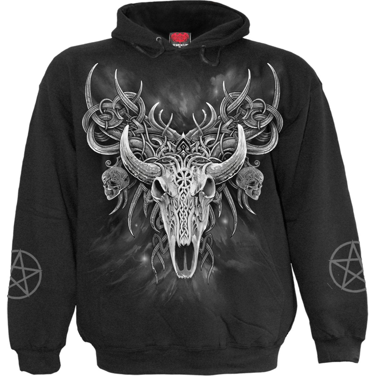 Horned Spirit Animal Skull Black Hoodie
