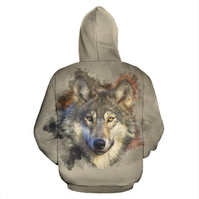 Gray Wolf All Over Hoodie - Rebels Depot