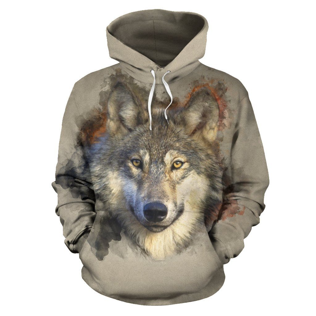 Gray Wolf All Over Hoodie