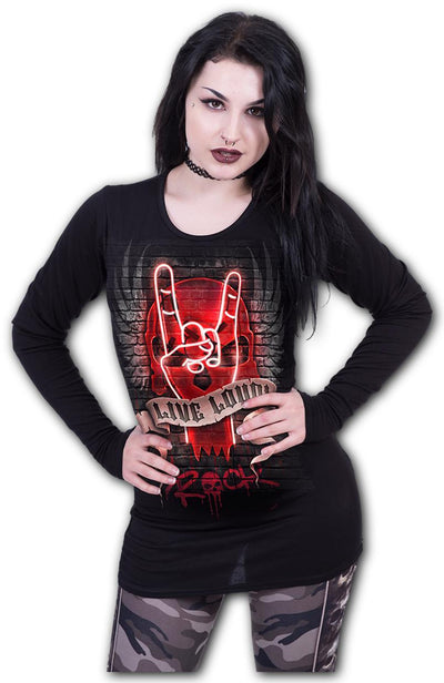 Living Loud Hellraiser Women's Black Longsleeve Top - Rebels Depot