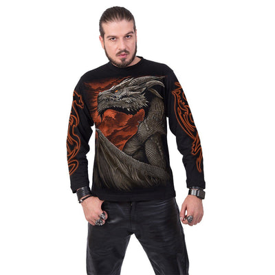 Majestic Dragon Men's Black Longsleeve Shirt - Rebels Depot