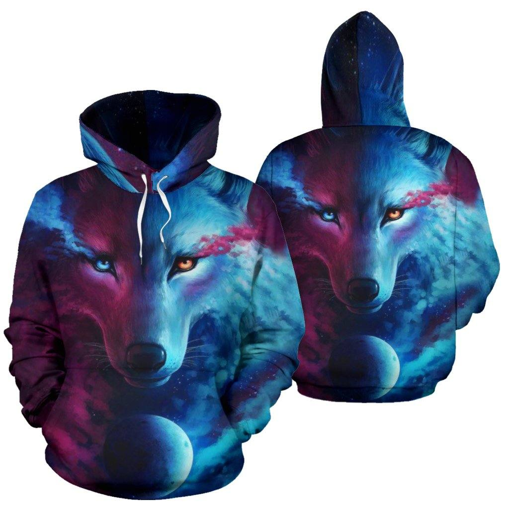 Moon Wolf Spirit All Over Hoodie