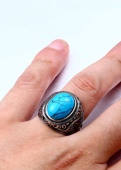 Navajo Tribal Stone Stainless Steel Ring - Rebels Depot