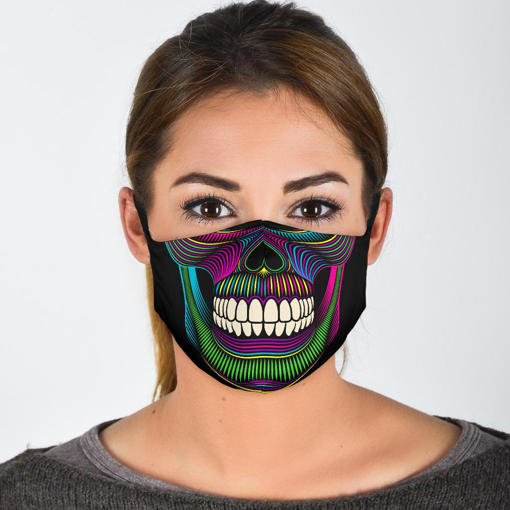 Neon Skull Reusable Face Mask