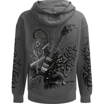 Skull Night Riffs Charcoal Hoodie - Rebels Depot