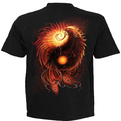 Fiery Phoenix Men's Black T-Shirt - Rebels Depot