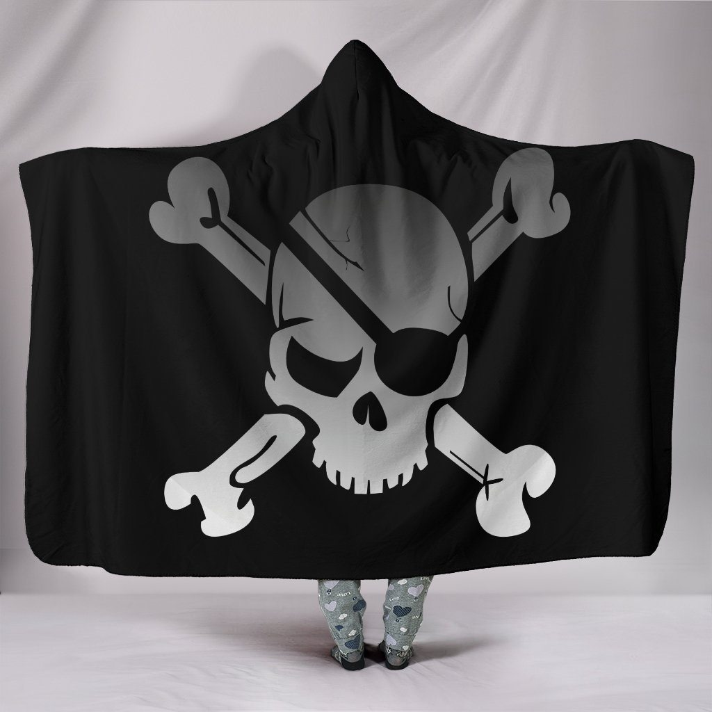 Pirate Skull & Crossbones Sherpa Hooded Blanket