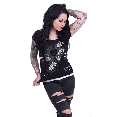 Gothic Devotion Women's 2in1 Black Short Sleeve - Rebels Depot