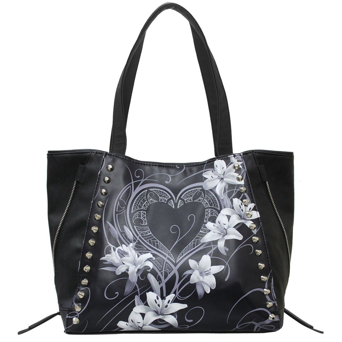 Heart and Lilies Leather Tote Bag - Rebels Depot