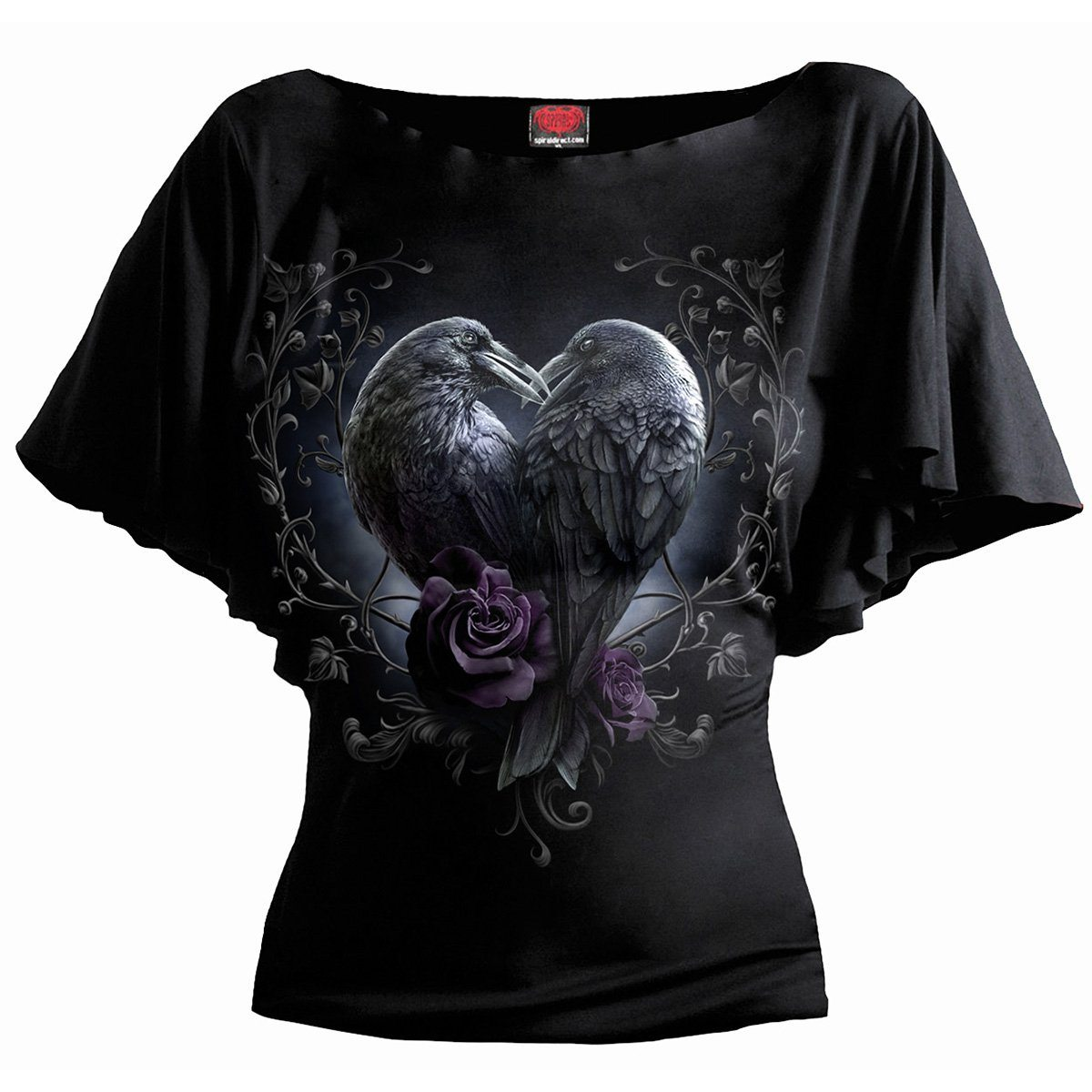 Raven Romance Women's Bat Sleeve Black Top - Rebels Depot