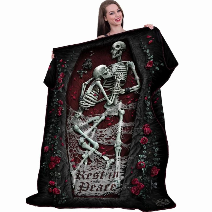 Rest In Peace Skeleton Couple Fleece Blanket
