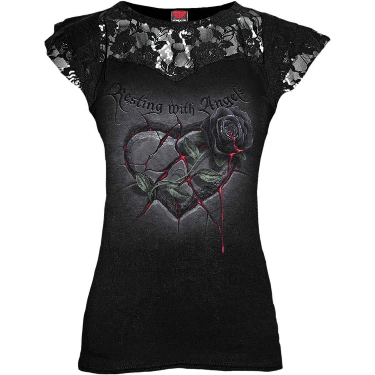 Resting Angel Women's Lace Layered Black Top - Rebels Depot