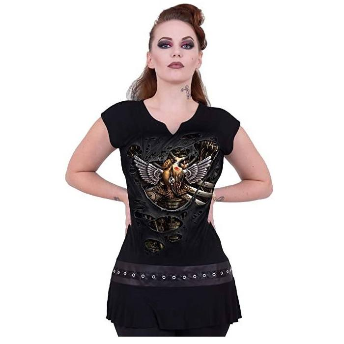 Ripped Steampunk Black Mini Dress