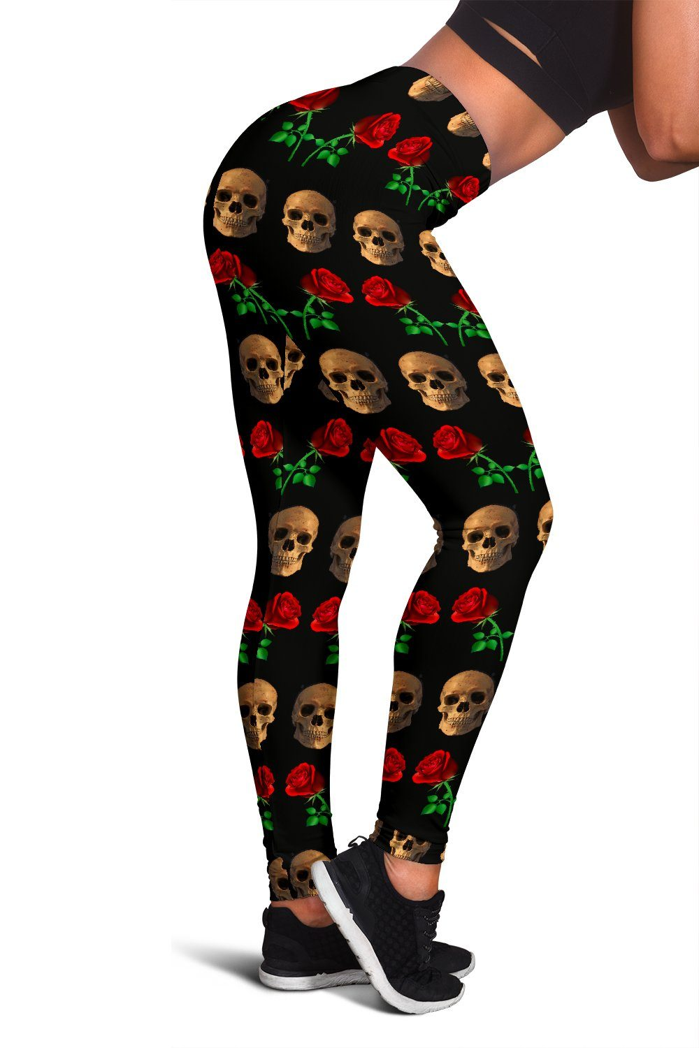 Skull and Rose Design Womens Leggings