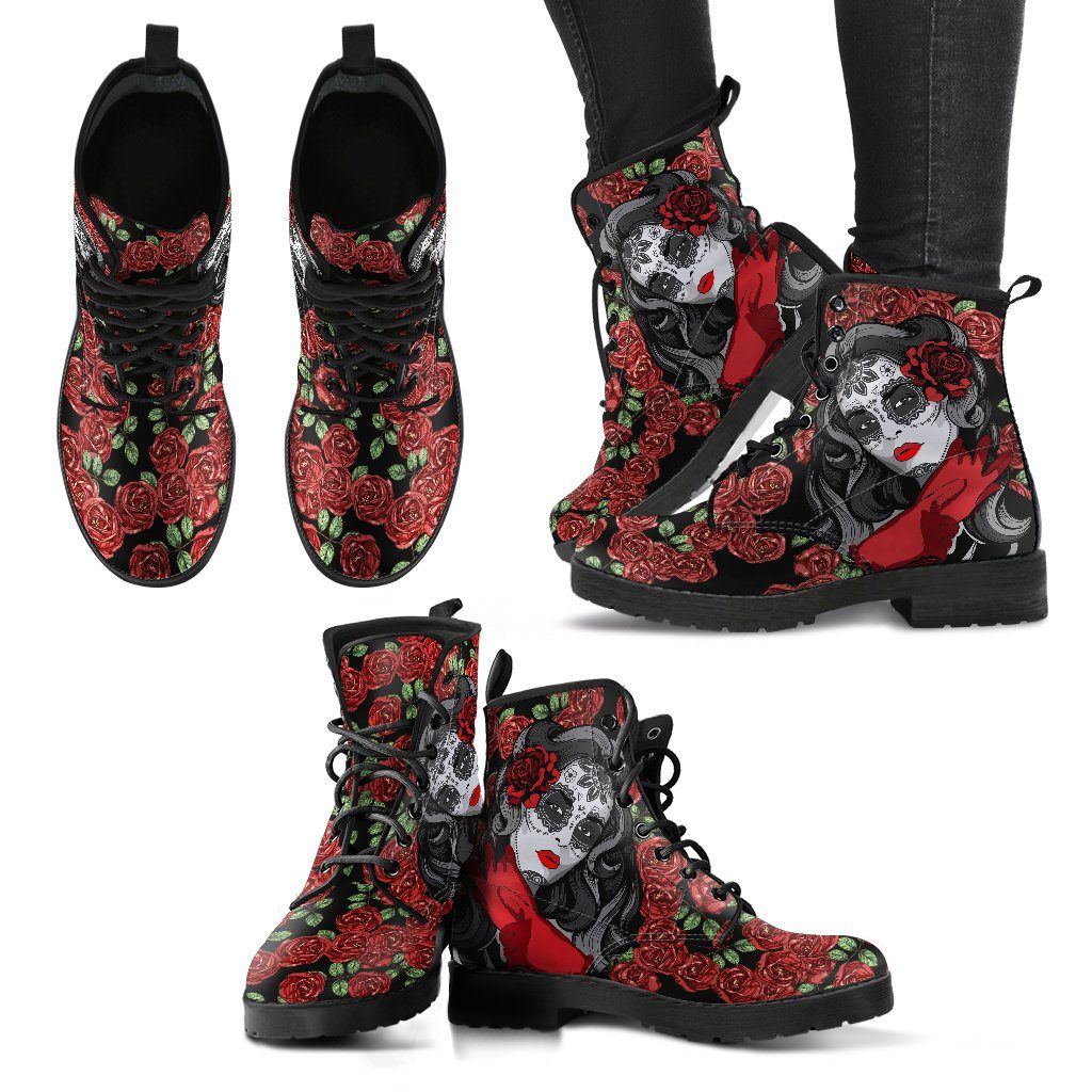 Skull and Rose Women's Leather Boots - Rebels Depot
