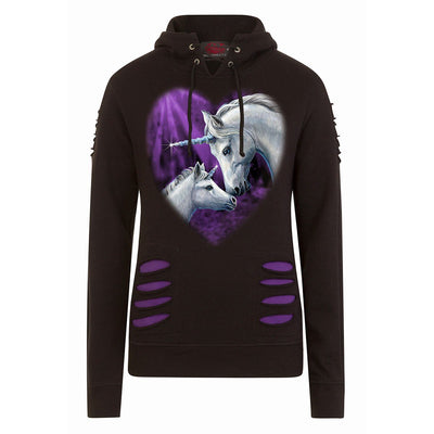 Scared Unicorns Lace Up Black Hoodie - Rebels Depot