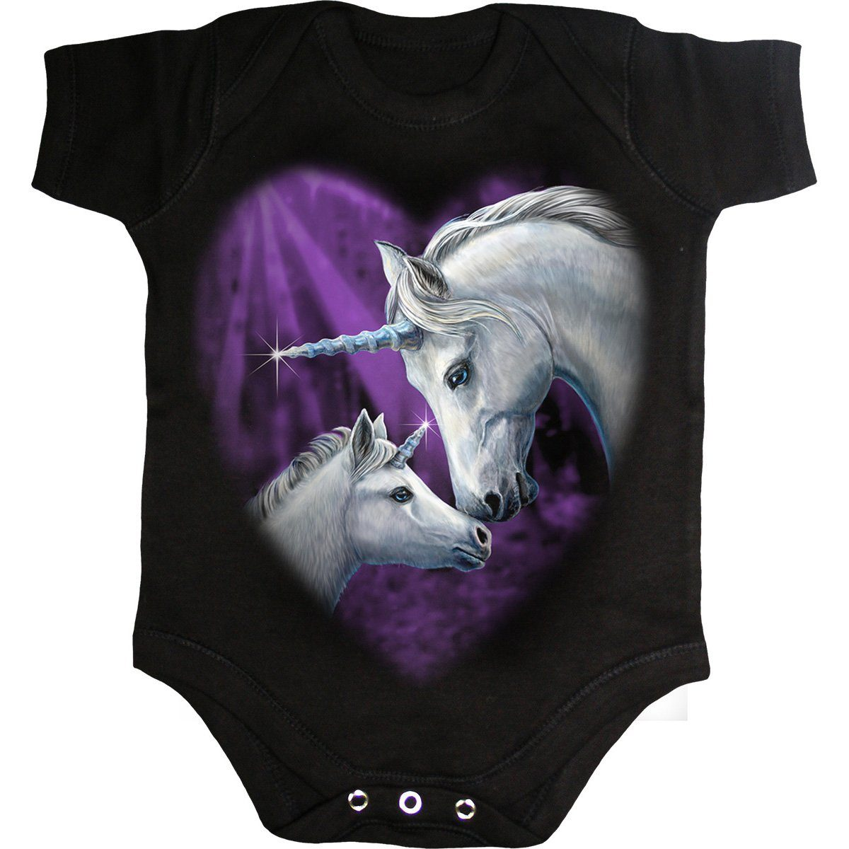 Magical Unicorn Baby Black Onesie