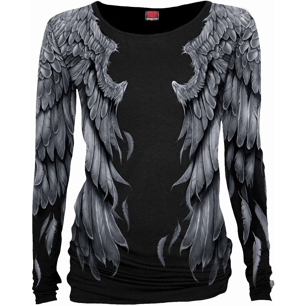 Angel Wings Women's Black Longsleeve Top - Rebels Depot