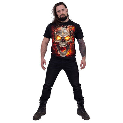 Demonic Skull Men's Black T-Shirt - Rebels Depot