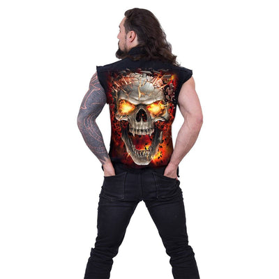Erupting Flaming Skull Men's Black Sleeveless Shirt - Rebels Depot