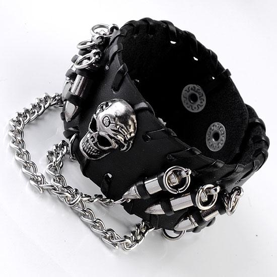 Skull & Chain Punk Leather Wristband - Rebels Depot